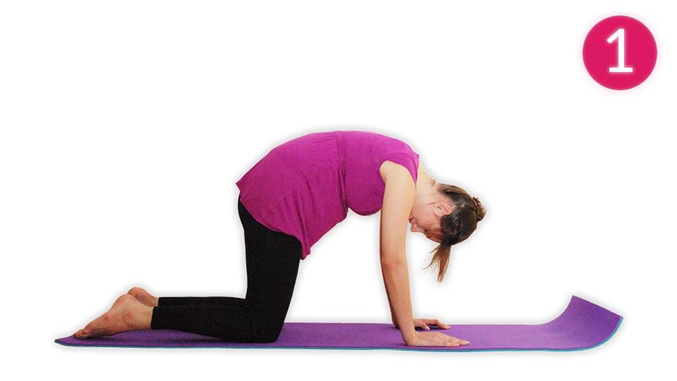 Anleitung für die Yogaübung die Katze (Bild 1)