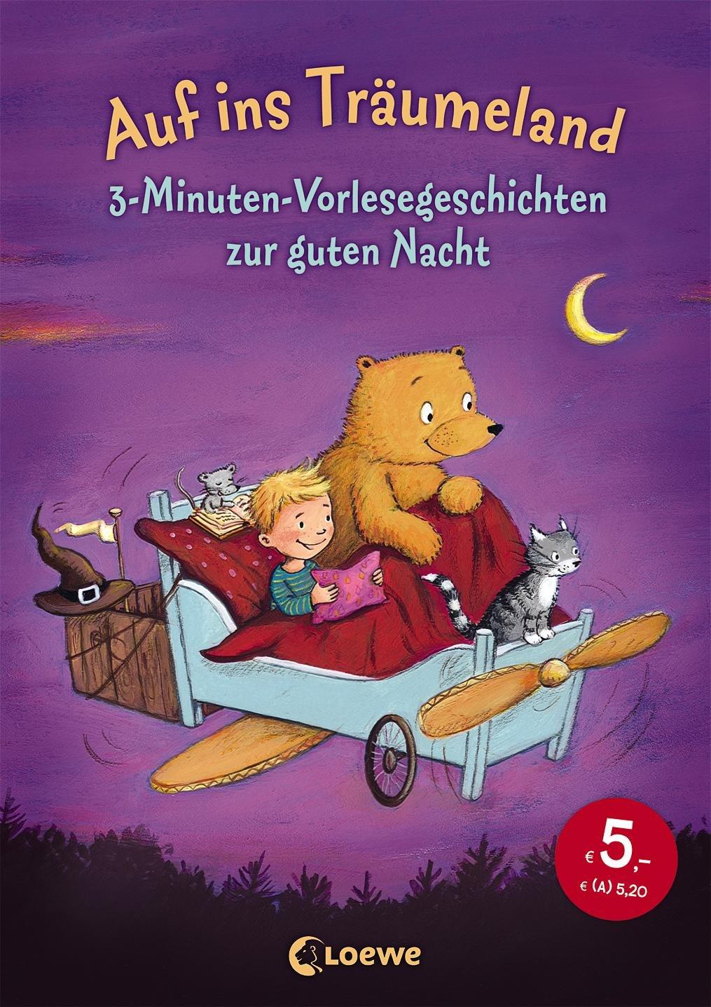 """Gutenachtgeschichten Buchempfehlung """"Auf ins Träumeland"""". Spezielle 3-Minuten-Vorlesegeschichten zur guten Nacht über Amazon."""