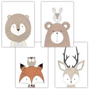 Das Bild zeigt vier Prints mit Tiermotiven.