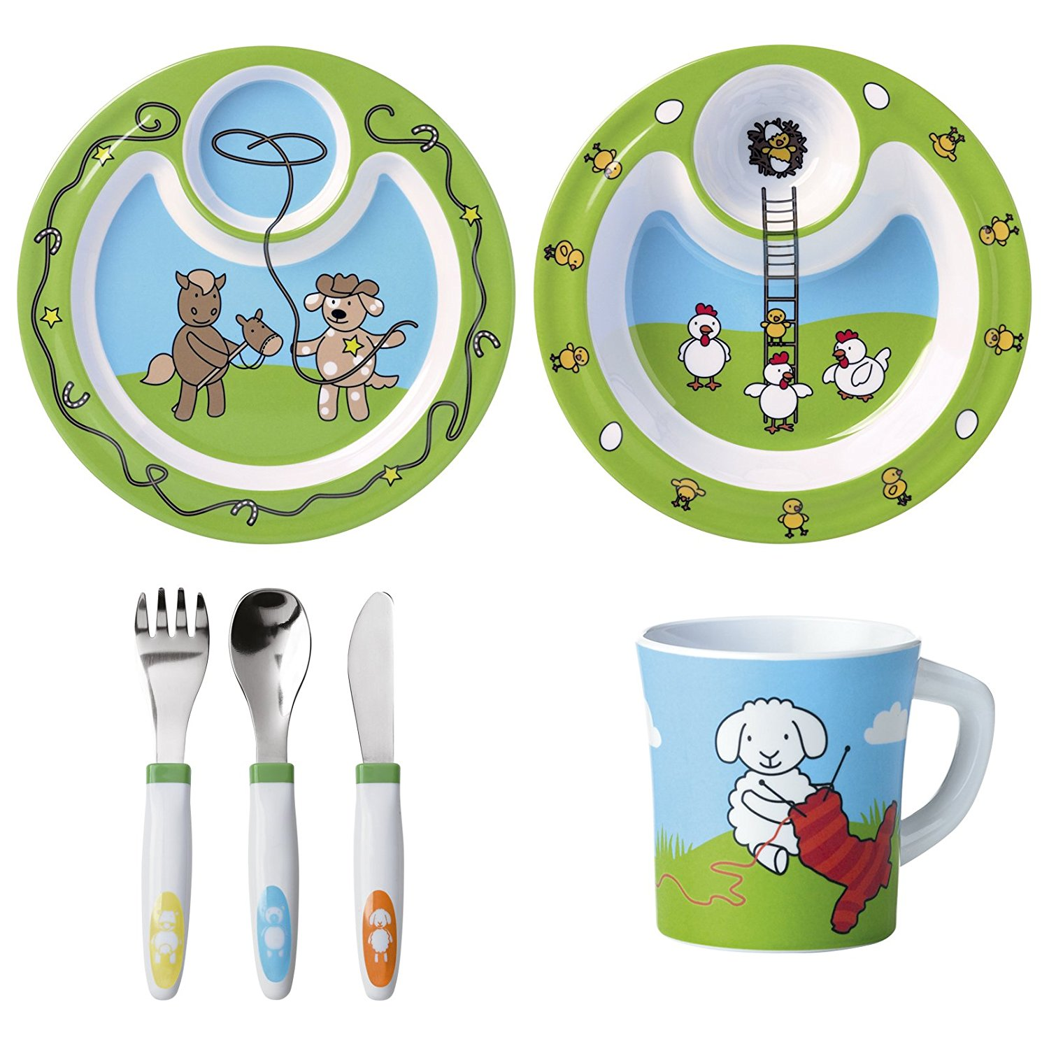 6-teiliges Kinderbesteck-Set von Emsa mit Farmtier-Motiven.