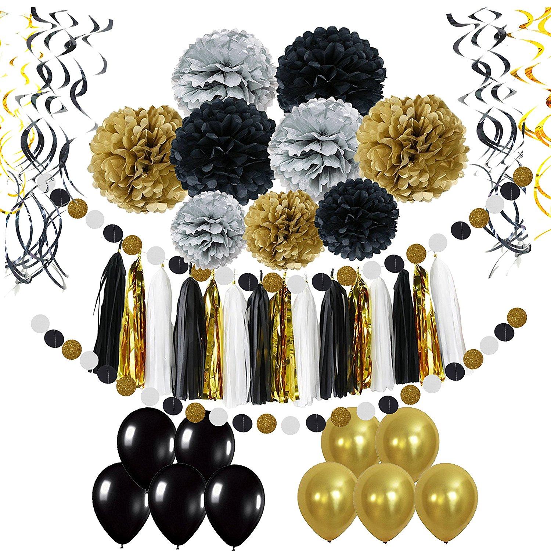 Luftballons, Pompom-Kugeln, Girlanden, Kordeln in Schwarz, Gold und Silber.