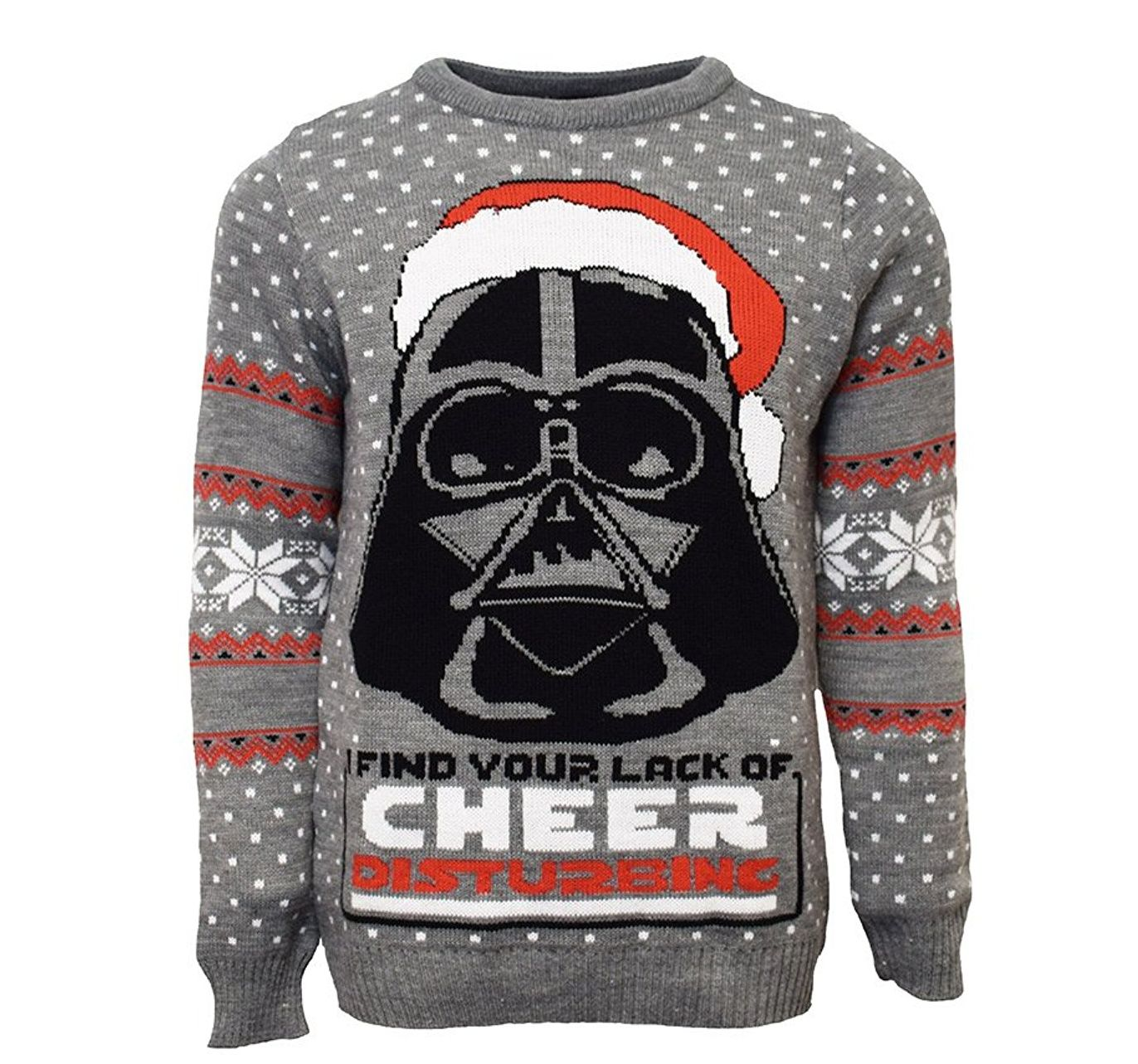 "Ugly Christmas Sweater mit Darth Vaders Kopf, der eine Nikolaus-Mütze trägt und den Worten ""I find your lack of cheer disturbing"""