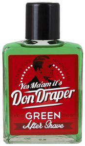 Don Draper Green Aftershave in einer grünen Glasflasche.