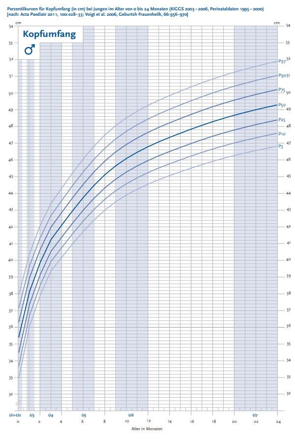 Perzentilenkurve Kopfumfang von Jungen, 0 bis 24 Monate.
