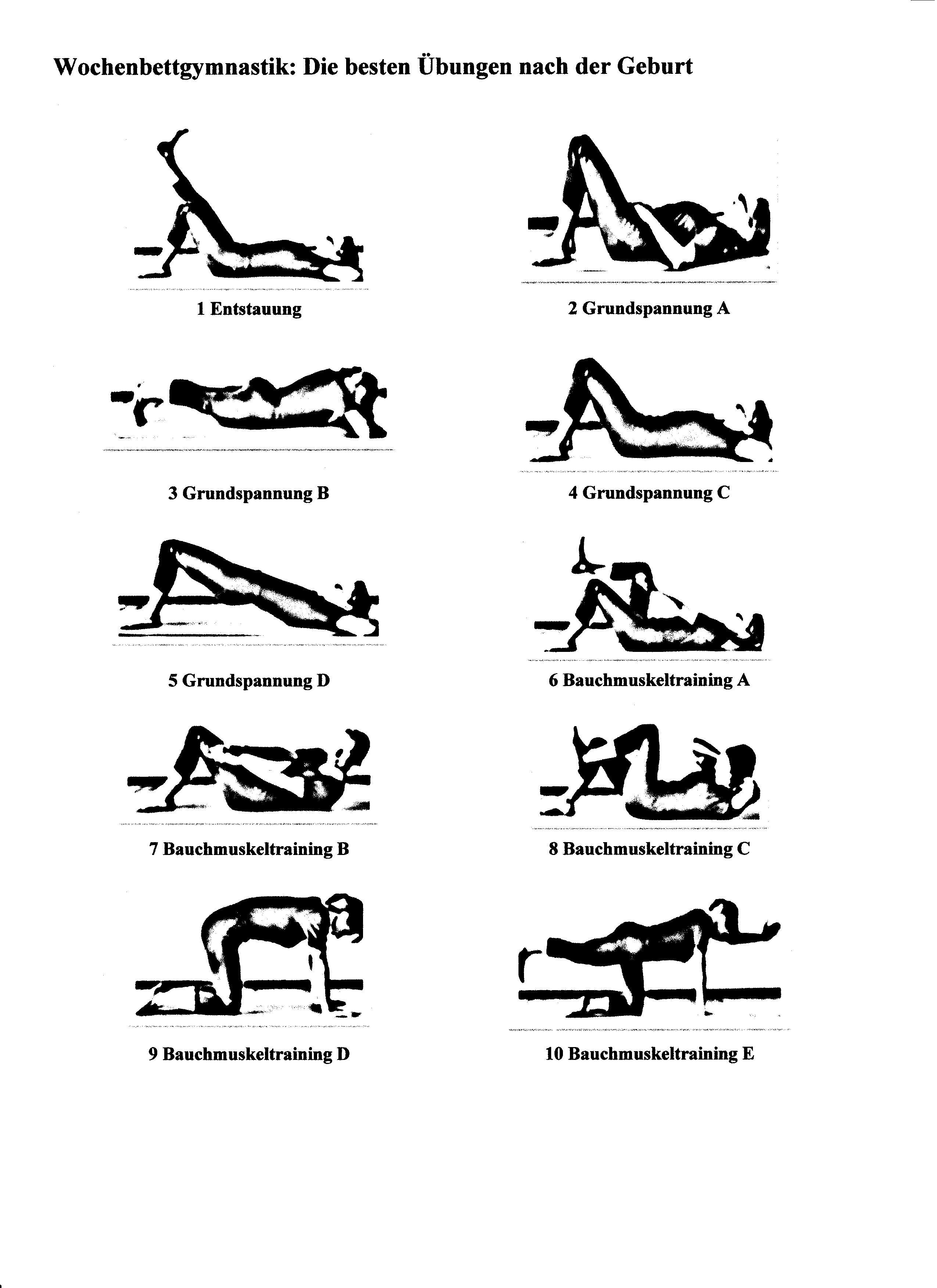 Wochenbettgymnastik Übung 1-10