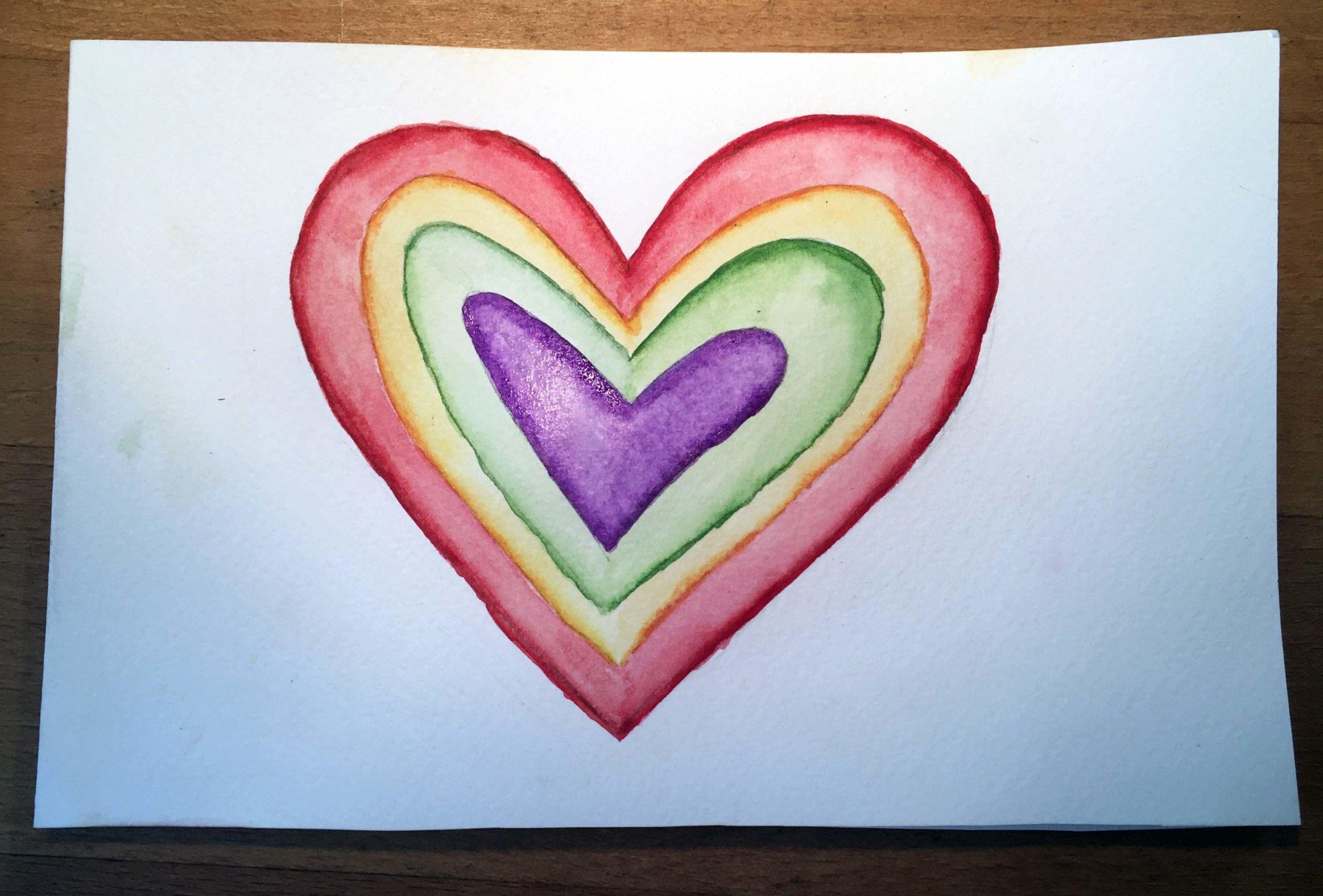 Muttertagskarten kannst du selber basteln und zum Beispiel mit Wasserfarben gestalten.